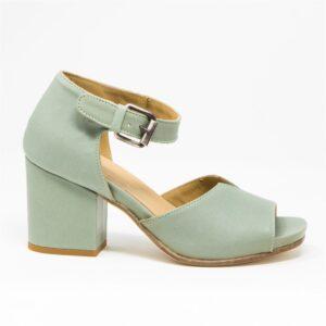 Sandalo in pelle di vitello con taglio particolare sulla tomaia e cinturino sulla caviglia. Fondo in cuoio e mezza piantina in gomma. Made in Italy