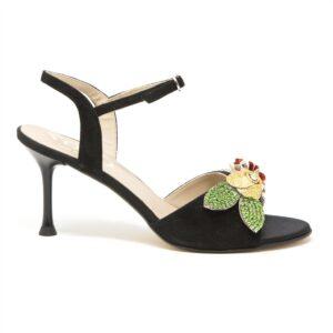 Sandalo floreale tacco 7,5 cm