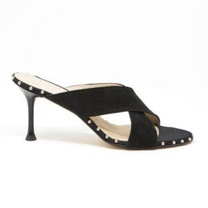 Sandalo in camoscio a doppie fasce tacco 7,5 cm