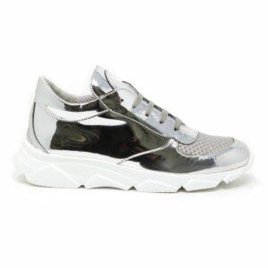 Sneakers in specchio tessuto mash