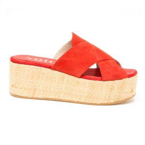 Sandalo in camoscio con zeppa alta 6 cm | Rosso